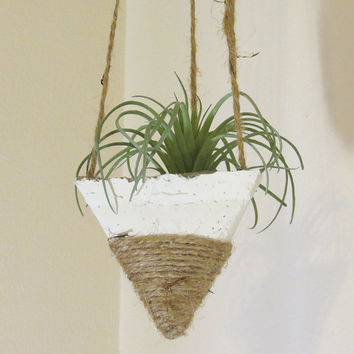 Concrete Planter, Hanging Succulent Pot, Modern Geometric Planter, Air Plant Holder, Office Planter, Home Decor, White Jute Twine