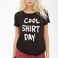 FOREVER 21 Cool Shirt Graphic Tee Black/White