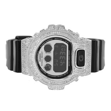 Custom G-Shock Watch Simulated Diamonds Digital Display Black Silicone Band