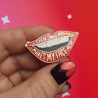 ROCKY HORROR Pin - Lips Pin - Glitter Pin - Enamel Pin - Rocky Horror Picture Show Gift - Stocking Stuffer - Even Smiling Makes My Face Ache