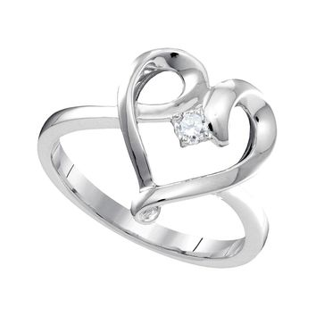 10kt White Gold Womens Round Diamond Heart Love Promise Bridal Ring 1/20 Cttw