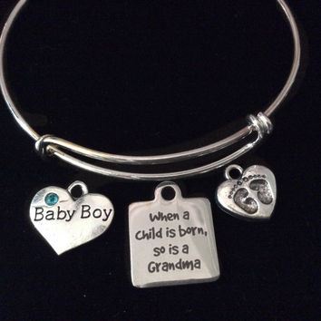 When A Child Is Born So Is A Grandma Expandable Charm Bracelet Baby Boy Silver Adjustable Bangle Grandmother Gift New Baby
