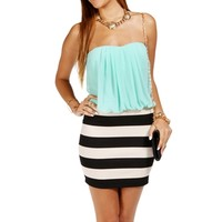 Mint Stripe Color Block Dress