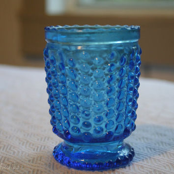 Vintage Blue Green Depression Glass Hobnail Votive Candle Holder Carnival Glass