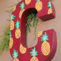 Hand-Painted Pineapple Print Letter, Apartment, Home and Nursery Monogram Decor, Wall Letters Sign