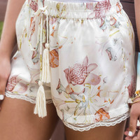 New Romantics Cream Floral Print Lace Hem Drawstring Shorts