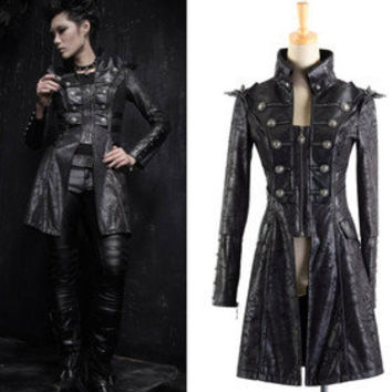 PUNK HARD KING Y366 Cosplay Gothic MILITARY JACKET BLACK BLAZER S-XL free ship