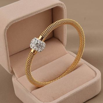 High Quality Charm Chic Stainless Steel Gold Plated Women Bracelets & Bangles