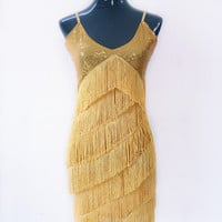 Stage Dance Costume 1920s Sequins Tassel Cocktail Latin Party Dress V-Neck Strap Fringed Flapper Dress