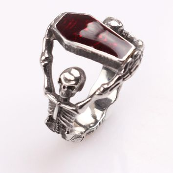 High Quality Steampunk Biker mens boys vampire gothic skeleton coffin Rings Men and Women Jewelry