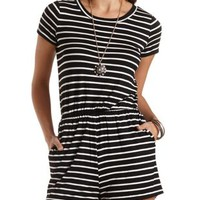Striped T-Shirt Romper by Charlotte Russe - Black/White