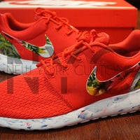 FREE SHIPPING -- Nike Roshe Run Red Marble Grey Island Floral Palm Tree Custom Men& Women