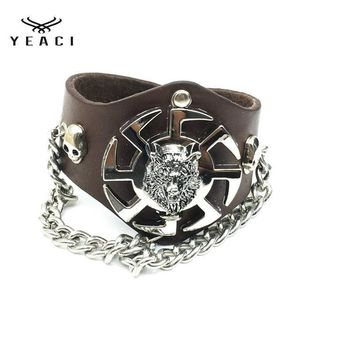 1Pcs  New Fashion Hip Hop Rock  Wolf Headpieces Brown Bracelet Punk Exaggerated Chain Bracelet For Men S-132