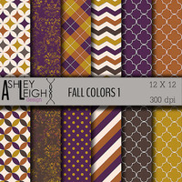Fall Colors Digital Paper Pack - Personal / Commercial Use -12 Sheets - 300 dpi 12 x 12 jpg - Scrapbooking - INSTANT DOWNLOAD