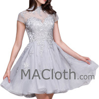 Cap Sleeves High Neck Silver Lace Organza Short Prom Homecoming Dress Formal Gown