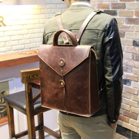 Vintage Envelop Mens Leather Backpack Handbag