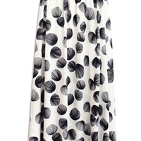 White Shell Printed Side Slit Maxi Skirt