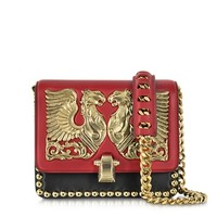 Roberto Cavalli Designer Handbags Hera Dark Red and Black Leather Shoulder Bag w/Jewel Plate and Studs