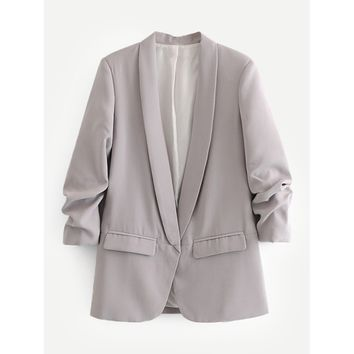 Shawl Collar Tailored Blazer Grey