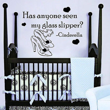 Quote Cinderella Wall Decals Shoes Decal Nursery Girl Bedroom Decor Vinyl MR359