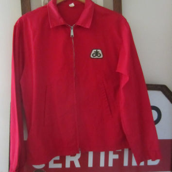 60s Louisville Sportswear Red Windbreaker Jacket, Men's M-L // Vintage Crop Jacket
