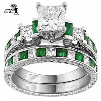 YaYI Jewelry Fashion  Princess Cut Huge 4.2  CT Green Zircon Silver Color Engagement Rings Set wedding Rings Party Rings