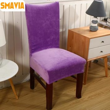 SMAVIA 2pcs/lot Spandex Velvet Dining Chair Cover 100% Polyester Solid Anti-Dirty Chair cover Decoration Home Hotel Part Case