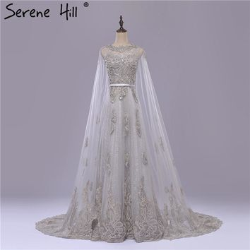 Vintage Grey Long Lace cape with Wedding Dress Appliques Beading Bridal Gown