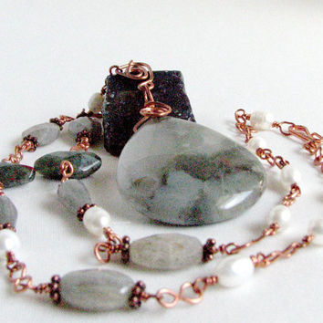 Copper Necklace Labradorite Pearl African Bloodstone