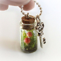 Secret garden terrarium necklace, perserved moss and clay mushrooms in a bottle, tiny small vial necklace