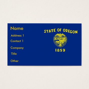 Business Card with Flag of Oregon U.S.A.