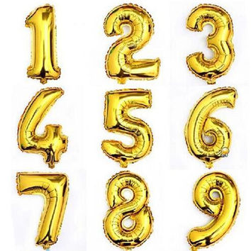 New 2016 Hot 32inch Gold Number Balloon Aluminum Foil Helium Balloons Birthday Wedding Party Decoration Celebration Supplies