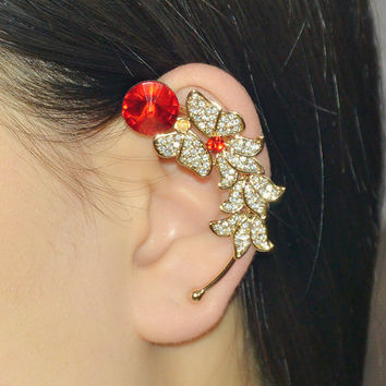Diamond Ear Cuff -  Ruby ear cuff - Sapphire ear cuff - Flower ear cuff -  Non pieced earring cuff -  Cartilage ear cuffs - Left ear