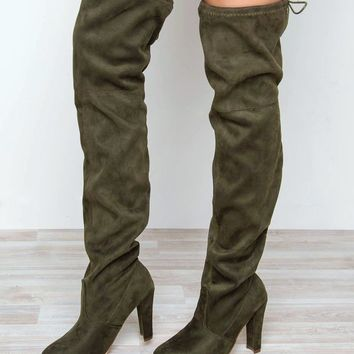 Showdown Thigh High Boots - Olive