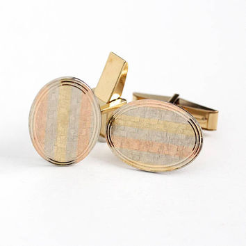 Vintage 14k Yellow , Rose & White Gold Filled Cufflinks - Retro Men's Oval Dress Shirt Wedding Accessory Tri Tone Striped Jewelry Cuff Links