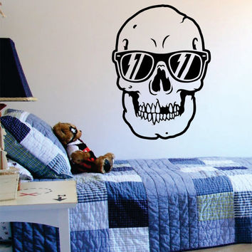Skull with Sunglasses Art Decal Sticker Wall Vinyl