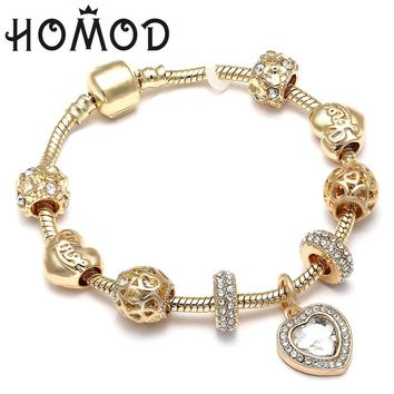 HOMOD Luxury Crystal Love Heart Charm Bracelets & Bangles Gold Color Pandora Bracelets For Women Jewellery Pulseira Feminina