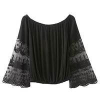 Black Off Shoulder Sheer Lace Sleeve Blouse