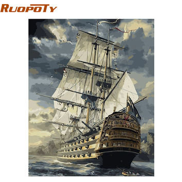 RUOPOTY Sailing Boat Landscape DIY Painting By Numbers Handpainted Vintage Oil Painting Home Wall Art Picture 40x50cm Artwork