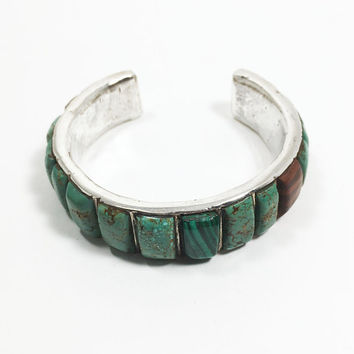 Vintage Southwestern Style Sterling Silver Cuff 925 Signed Bracelet Green Turquoise Bangle