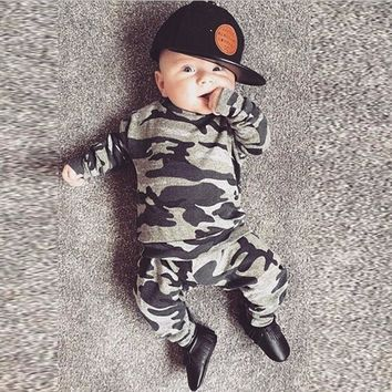 Autumn Newborn Clothes Baby Boys Girls Clothing Set Toddler Infant Camouflage Long Sleeve T-shirt Tops+Pants 2Pcs Casual Outfits