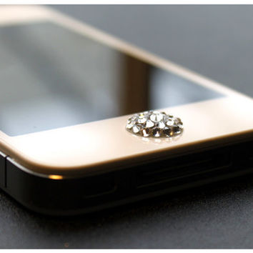Clear Swarovski Elements Pop-Up Peel & Stick Apple iPhone Home Button 3 3G 4 4S 5 iPad 1 2