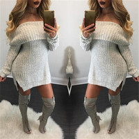 Pure Color Off Shoulder Side Slit Long Sleeve Knit Long Sweater