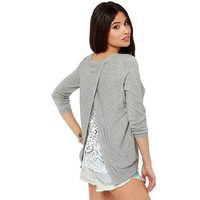 CrazyPomelo Women's Crossed Lace Flower Splicing Back Pullover Sweater Gray
