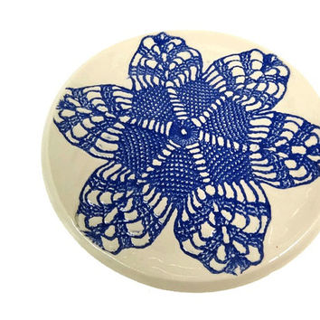 Blue Spoon Rest, Ring Dish, Candle Dish, Ring Holder, Lace Pottery, Blue Lace Dish, Pottery Soap Dish, Trinket Dish, Jewelry Dish,Lace Decor