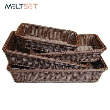4 size Wicker Basket Fruit Dish Rattan Bread Basket for Kitchen and Living Room Dining Room