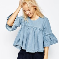 ASOS WHITE Extreme Denim Frill Top at asos.com