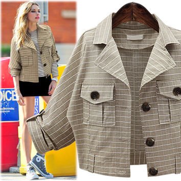 Plus Size Women's Fashion Slim Plaid Autumn Long Sleeve Jacket [9068279556]