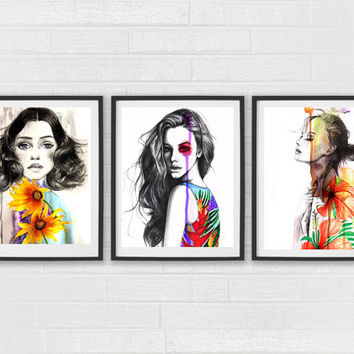Fashion illustration, Fashion art, Fashion art prints, Watercolor art, Home/office decor, Girls room art, Girl art, Free Shipping in US