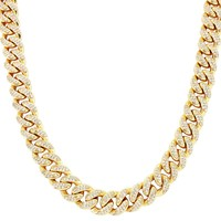 "Iced Out 12mm 18-30"" Men's Miami Cuban Link Choker Chain"